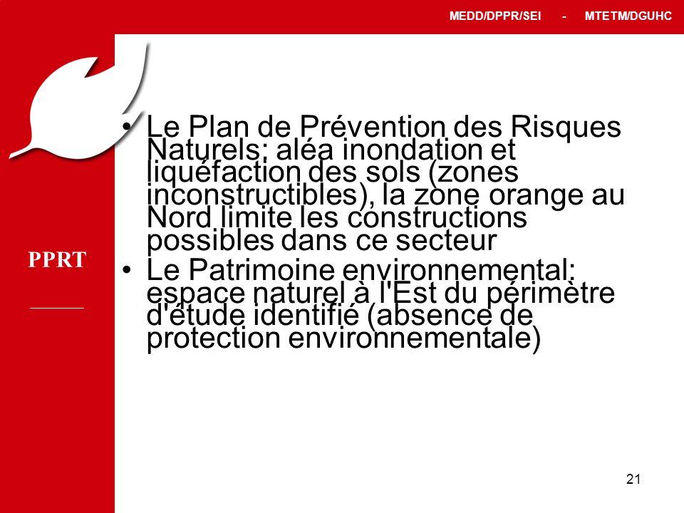 Le Plan de Prévention des Risques Naturels: aléa inondation et liquéfaction des sols (zones inconstructibles), la zone orange au Nord limite les constructions possibles dans ce secteur