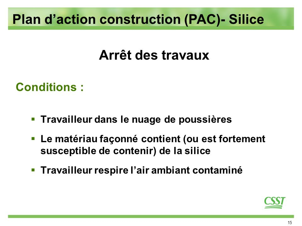 Plan d'action construction (PAC)- Silice