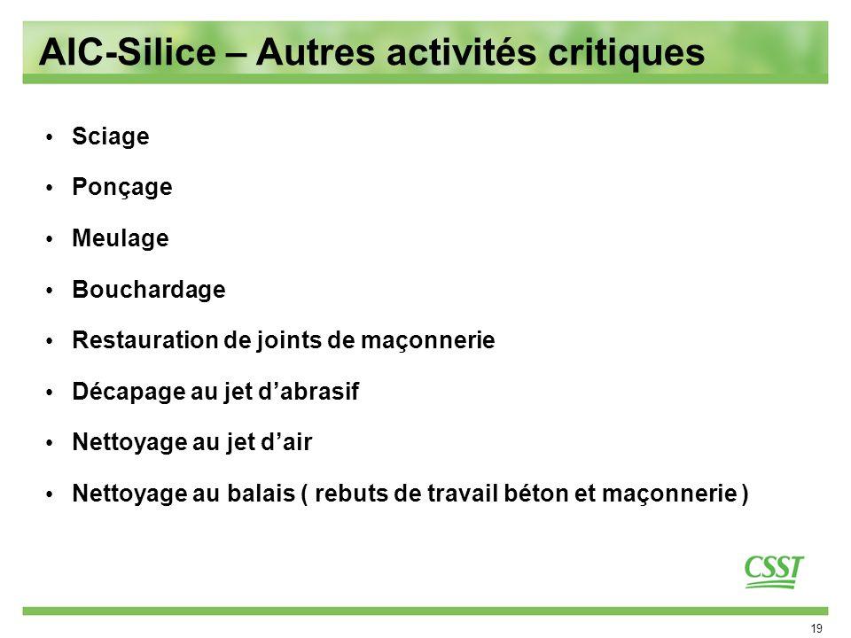 AIC-Silice – Autres activités critiques
