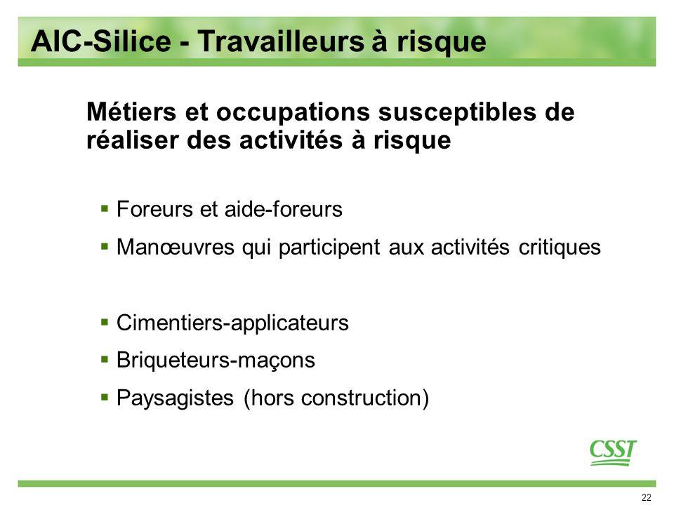 AIC-Silice - Travailleurs à risque