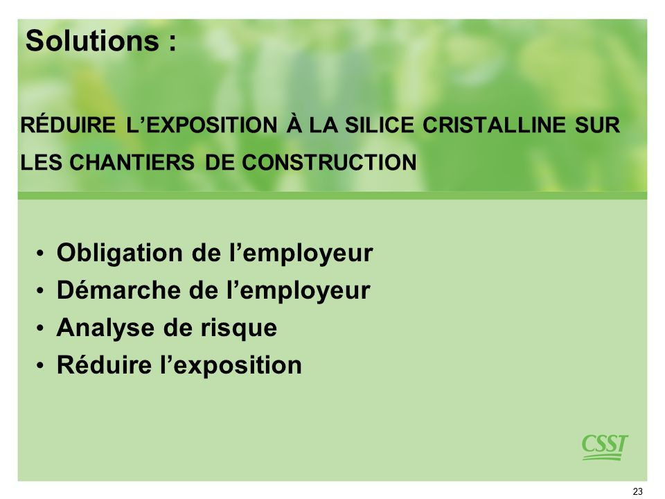 Solutions : Obligation de l'employeur Démarche de l'employeur