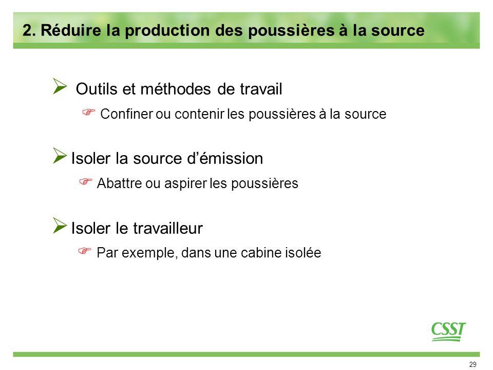 2. Réduire la production des poussières à la source
