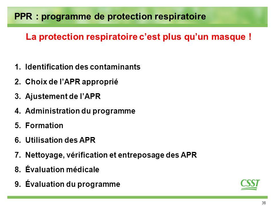 PPR : programme de protection respiratoire