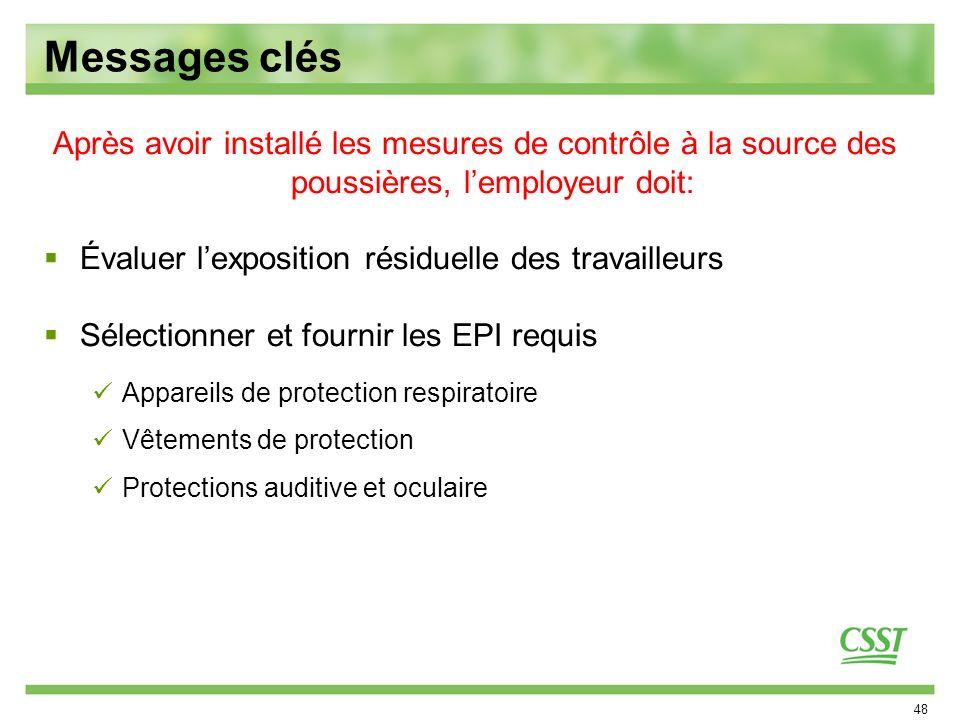 Messages clés Après avoir installé les mesures de contrôle à la source des poussières, l'employeur doit: