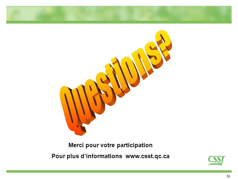 Merci pour votre participation Pour plus d'informations www.csst.qc.ca