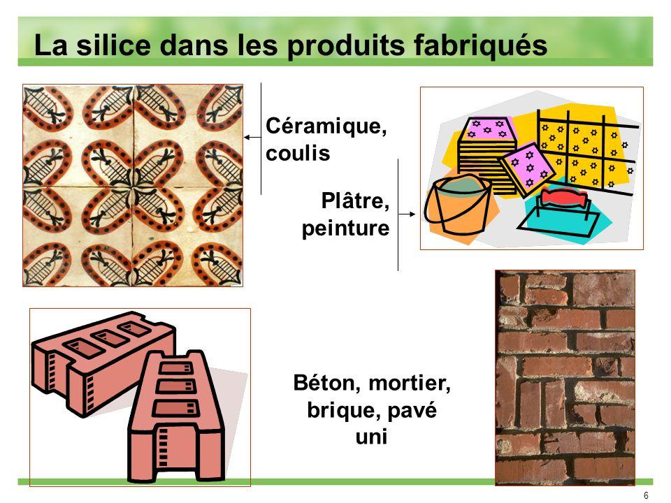 La silice dans les produits fabriqués