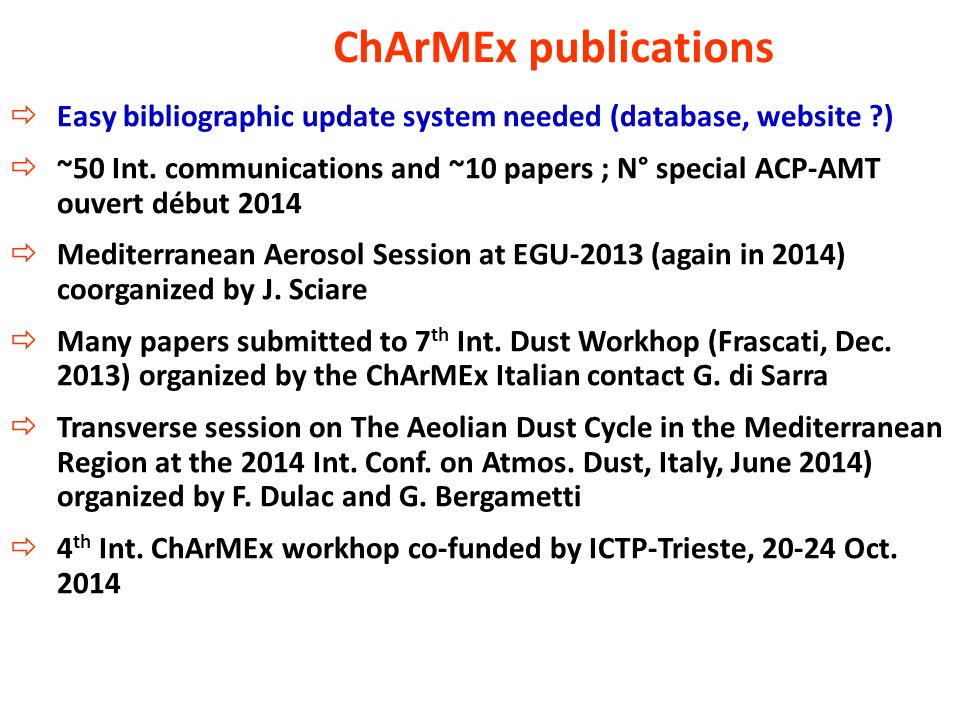 ChArMEx publications Easy bibliographic update system needed (database, website )