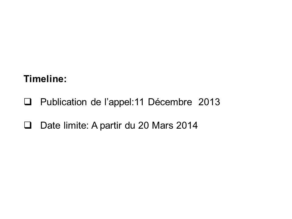 Timeline: Publication de l'appel:11 Décembre 2013 Date limite: A partir du 20 Mars 2014