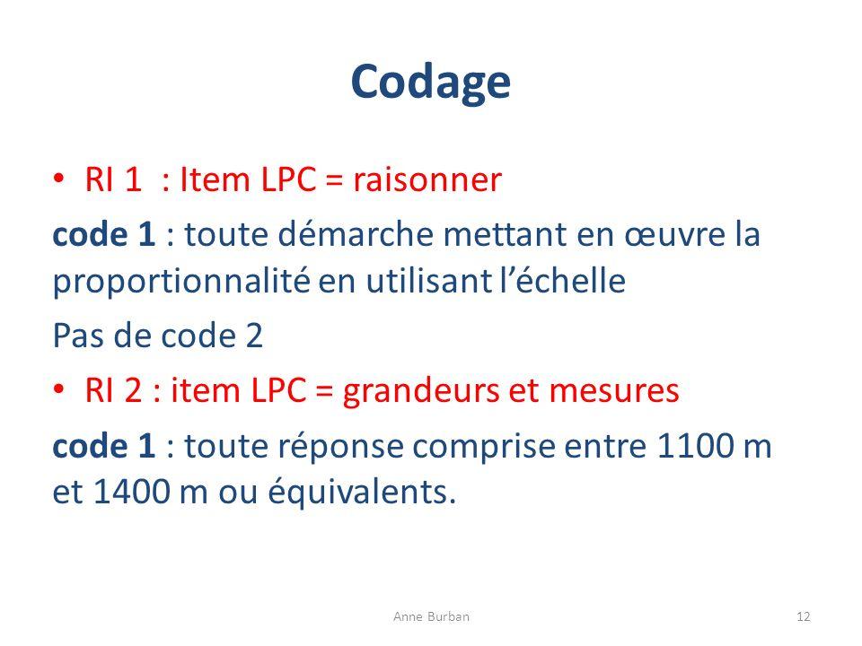 Codage RI 1 : Item LPC = raisonner