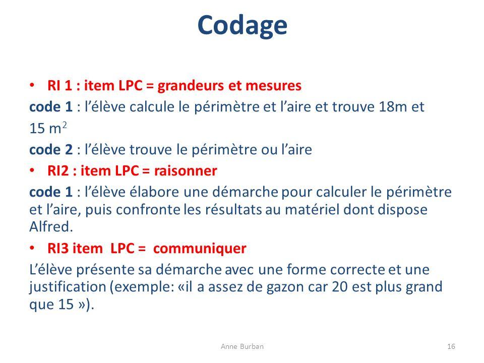 Codage RI 1 : item LPC = grandeurs et mesures