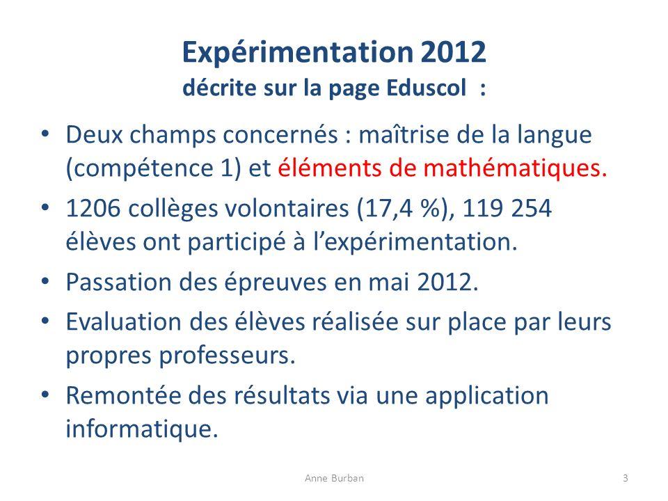 Expérimentation 2012 décrite sur la page Eduscol :