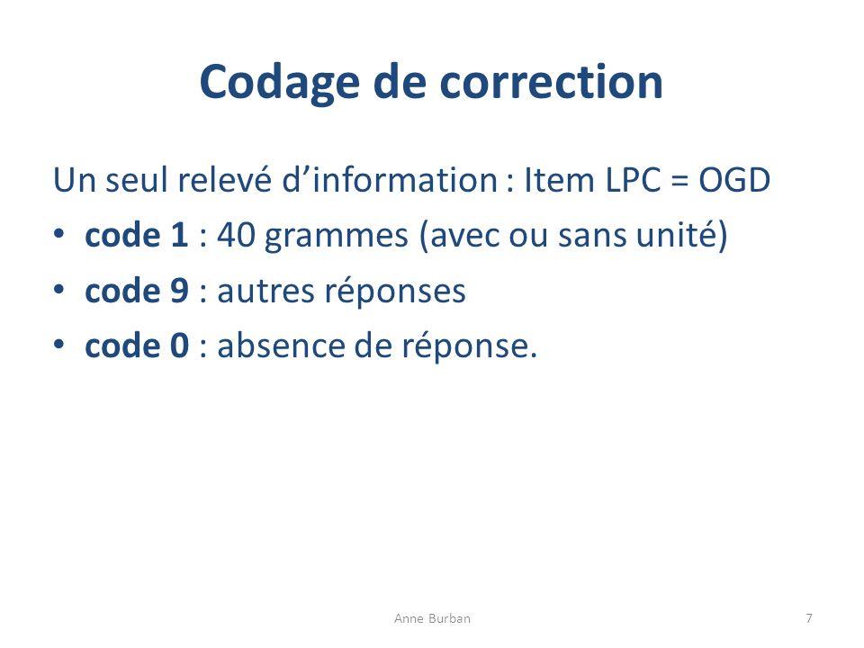 Codage de correction Un seul relevé d'information : Item LPC = OGD