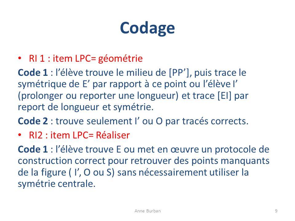 Codage RI 1 : item LPC= géométrie