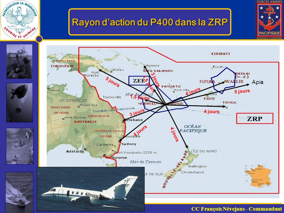Rayon d'action du P400 dans la ZRP