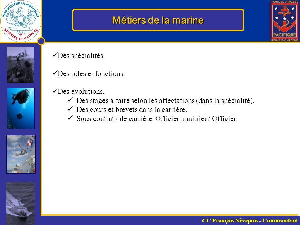 Métiers de la marine Des spécialités. Des rôles et fonctions.