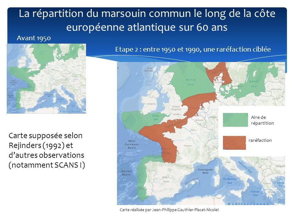 La répartition du marsouin commun le long de la côte européenne atlantique sur 60 ans