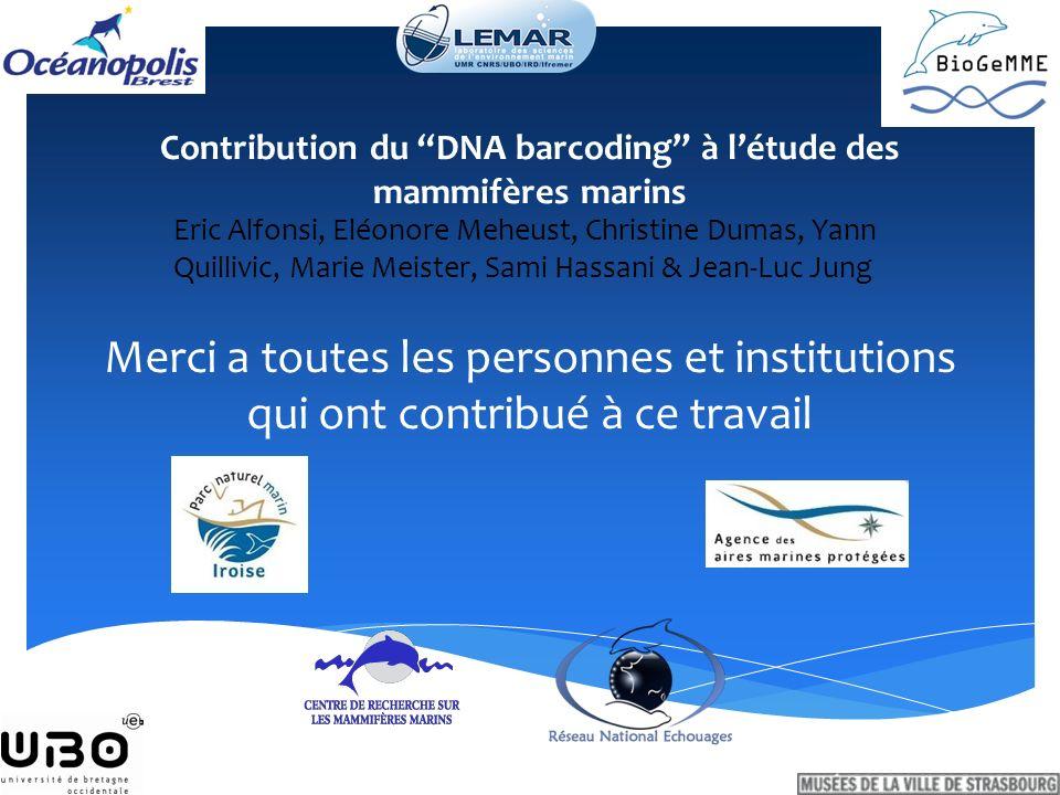 Contribution du DNA barcoding à l'étude des mammifères marins