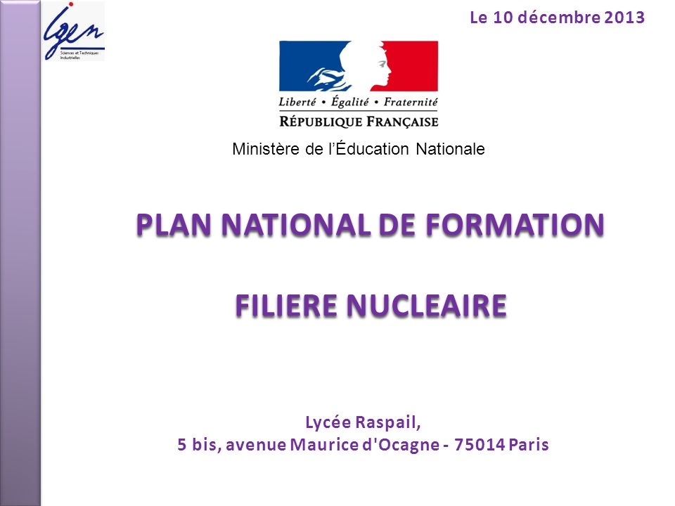 PLAN NATIONAL DE FORMATION FILIERE NUCLEAIRE