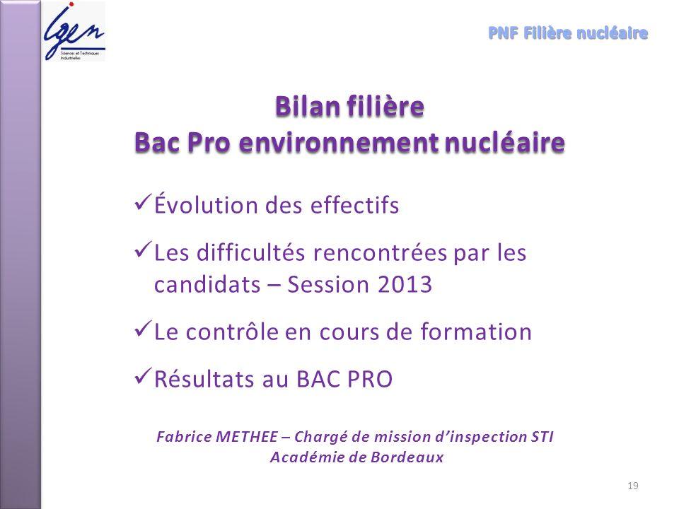 Bilan filière Bac Pro environnement nucléaire