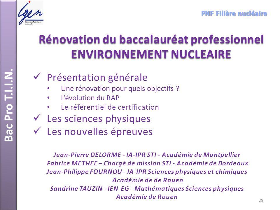 Rénovation du baccalauréat professionnel ENVIRONNEMENT NUCLEAIRE