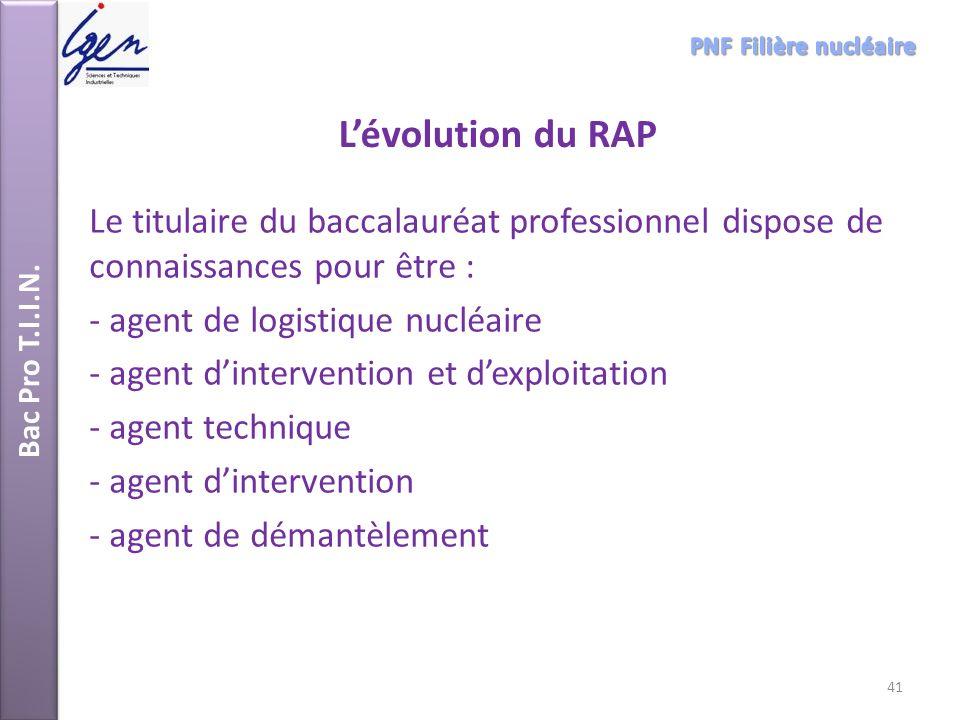 Bac Pro T.I.I.N. PNF Filière nucléaire. L'évolution du RAP. Le titulaire du baccalauréat professionnel dispose de connaissances pour être :