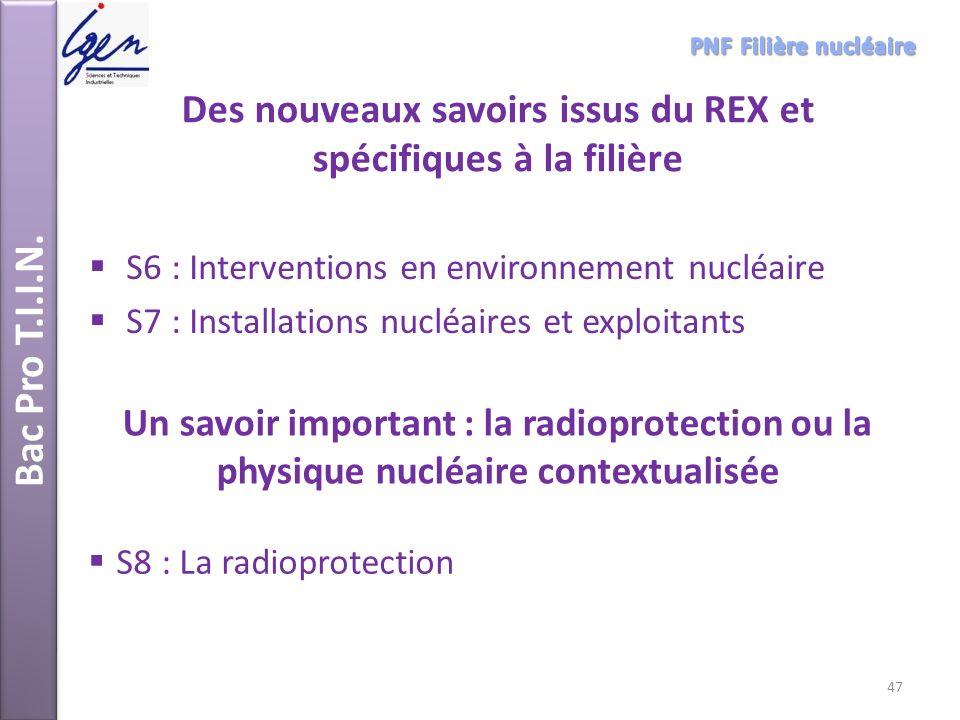Des nouveaux savoirs issus du REX et spécifiques à la filière