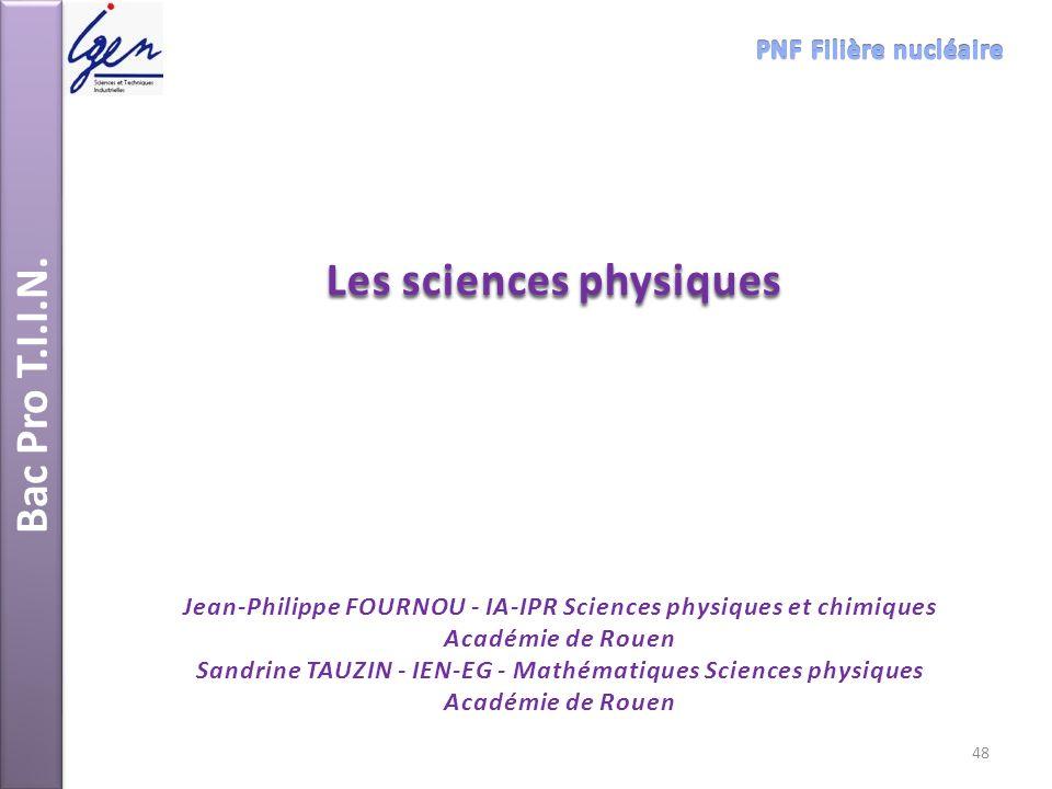Bac Pro T.I.I.N. Les sciences physiques