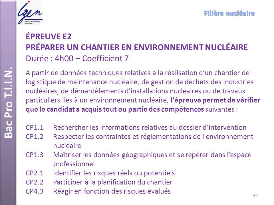 Bac Pro T.I.I.N. Filière nucléaire. ÉPREUVE E2. PRÉPARER UN CHANTIER EN ENVIRONNEMENT NUCLÉAIRE Durée : 4h00 – Coefficient 7.