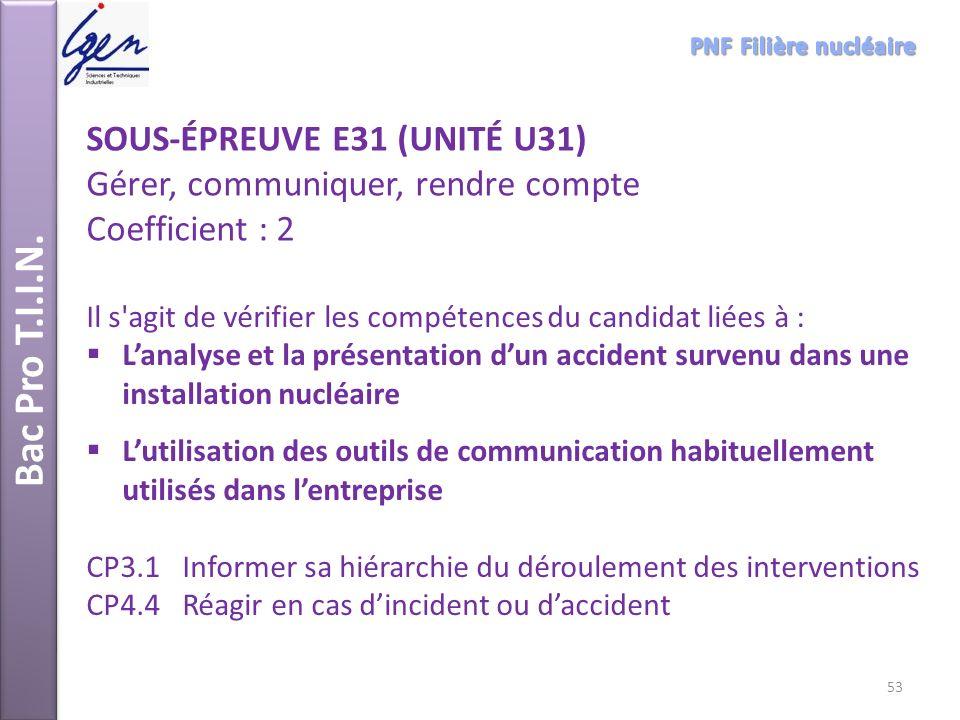 Bac Pro T.I.I.N. SOUS-ÉPREUVE E31 (UNITÉ U31)