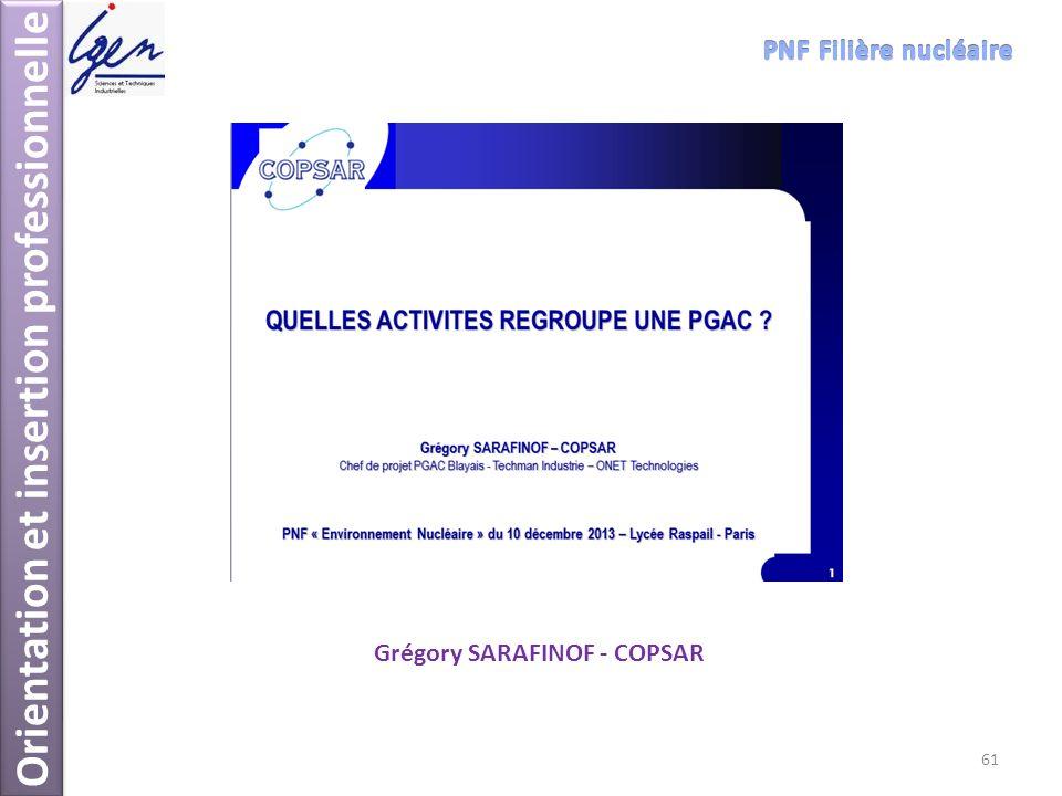 Orientation et insertion professionnelle Grégory SARAFINOF - COPSAR