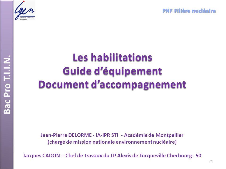 Les habilitations Guide d'équipement Document d'accompagnement