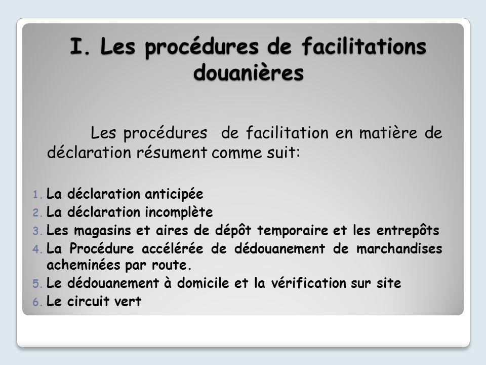 I. Les procédures de facilitations douanières