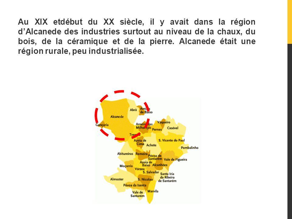 Au XIX etdébut du XX siècle, il y avait dans la région d'Alcanede des industries surtout au niveau de la chaux, du bois, de la céramique et de la pierre.