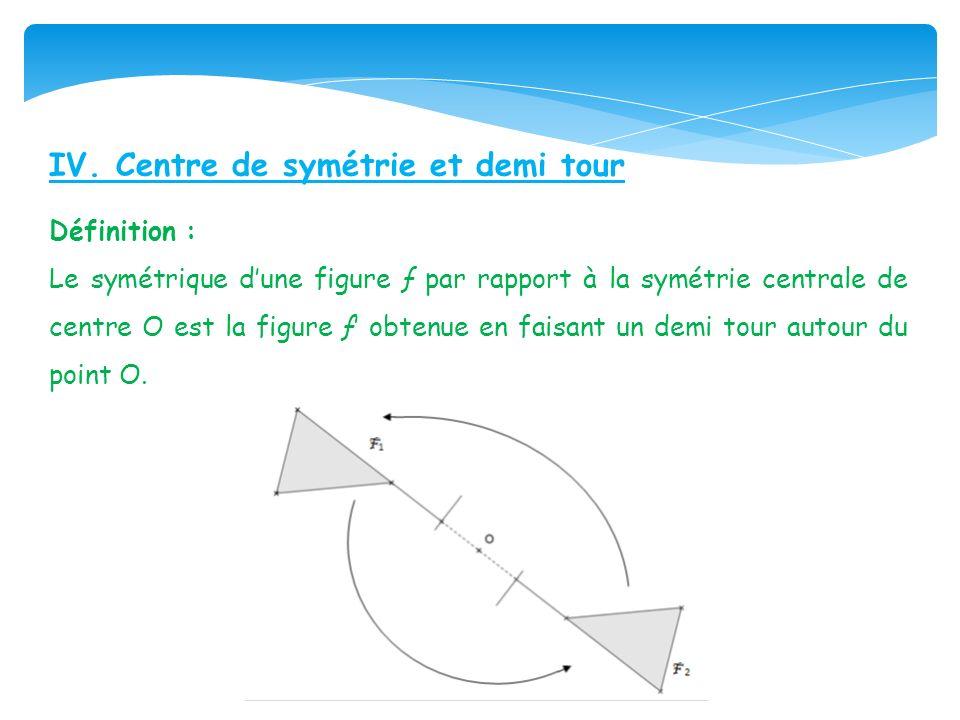 IV. Centre de symétrie et demi tour