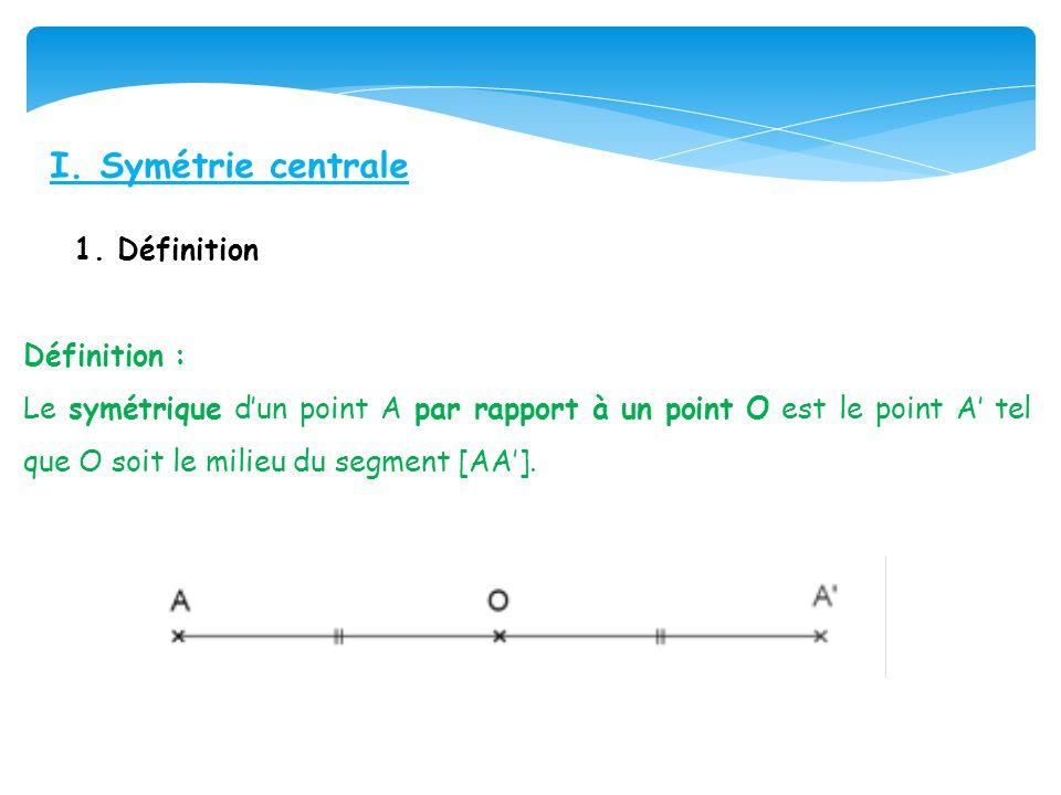 I. Symétrie centrale 1. Définition Définition :