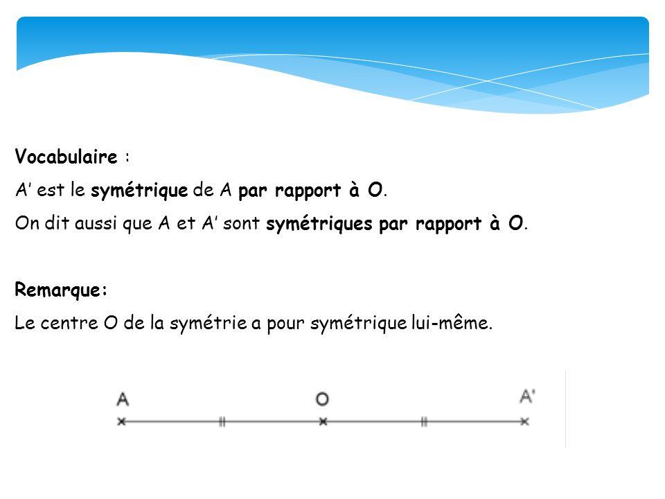 Vocabulaire : A' est le symétrique de A par rapport à O. On dit aussi que A et A' sont symétriques par rapport à O.