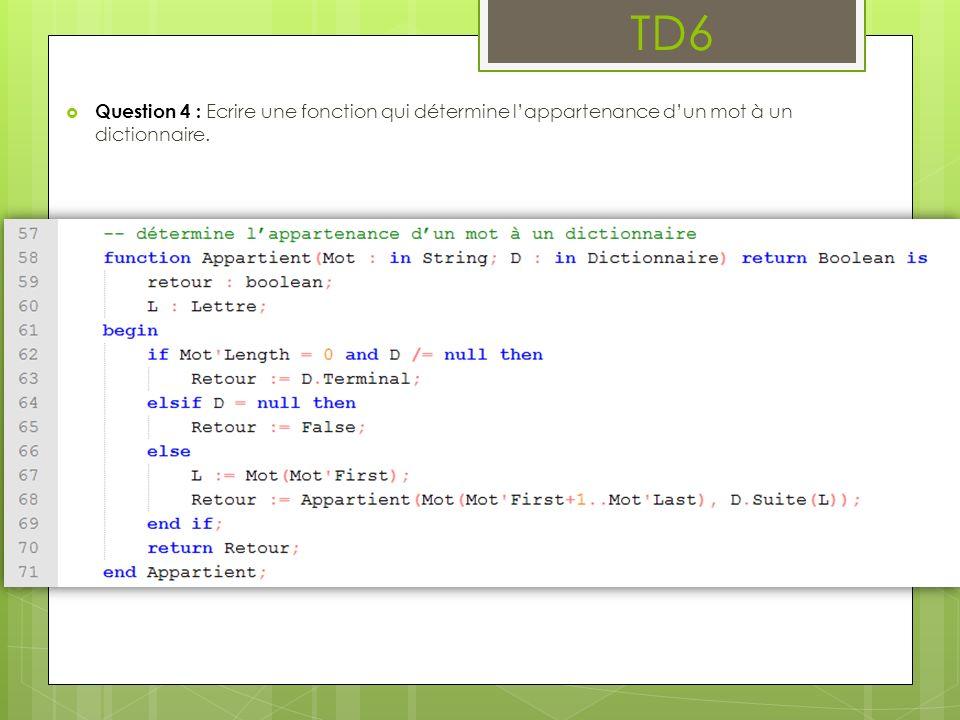 TD6 Question 4 : Ecrire une fonction qui détermine l'appartenance d'un mot à un dictionnaire.