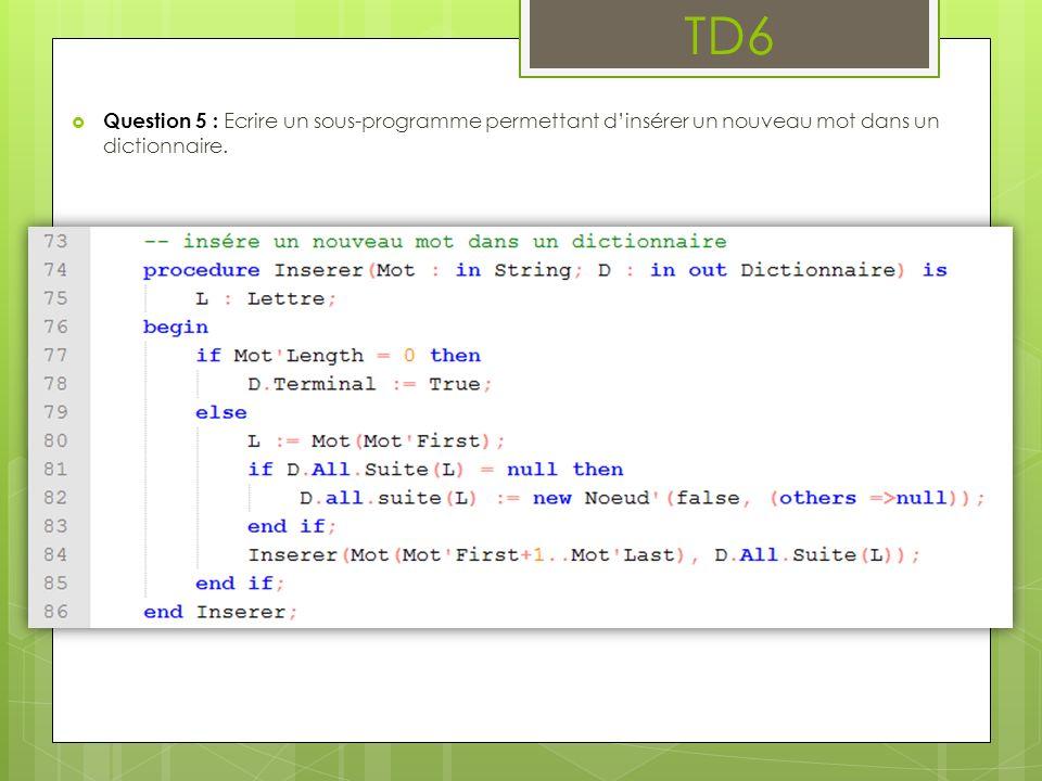 TD6 Question 5 : Ecrire un sous-programme permettant d'insérer un nouveau mot dans un dictionnaire.