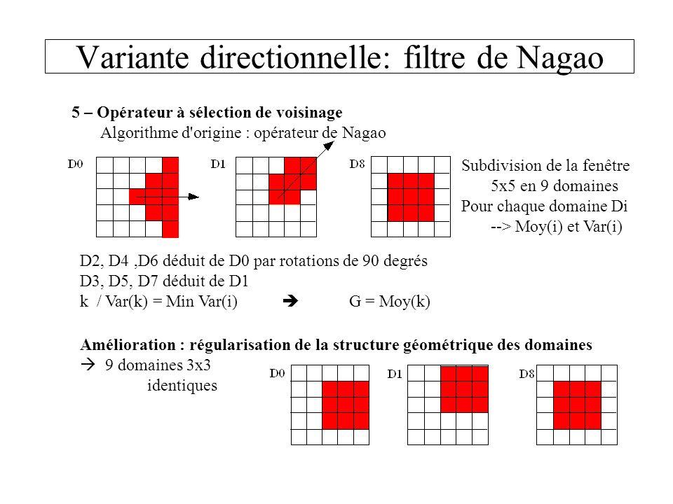 Variante directionnelle: filtre de Nagao