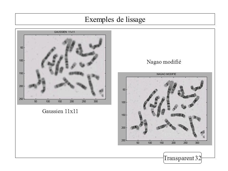 Exemples de lissage Nagao modifié Gaussien 11x11 Transparent 32