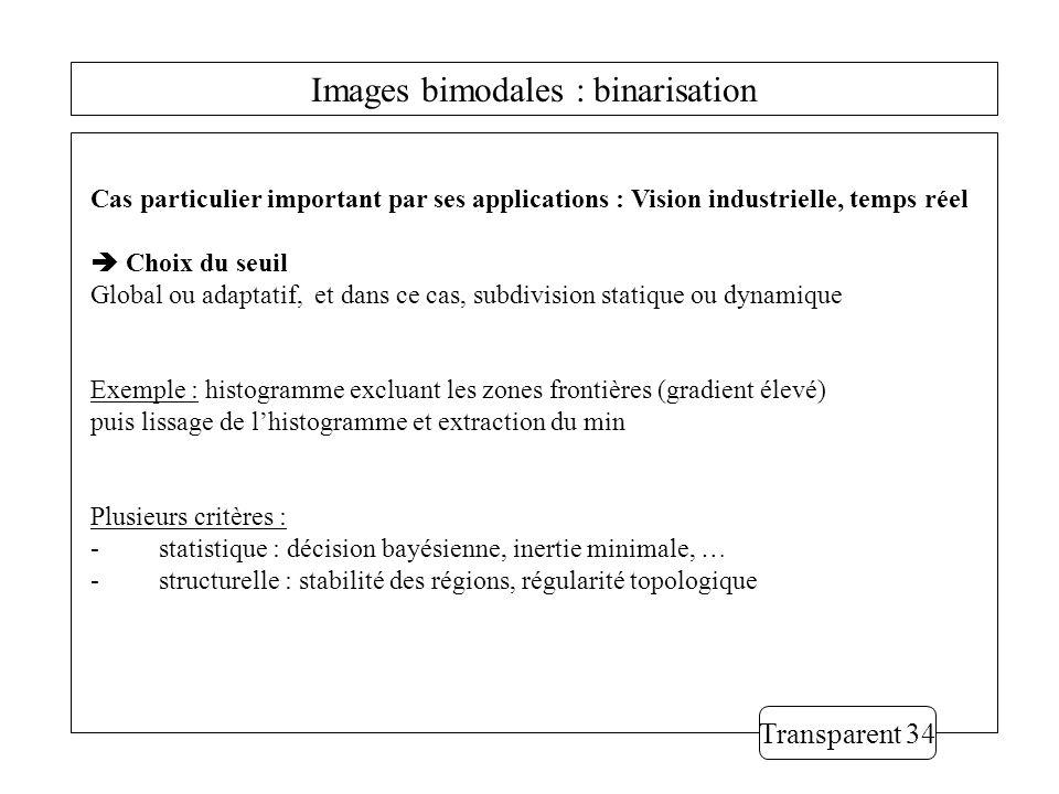 Images bimodales : binarisation