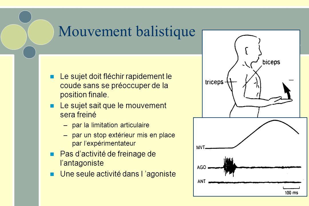 Mouvement balistique Le sujet doit fléchir rapidement le coude sans se préoccuper de la position finale.