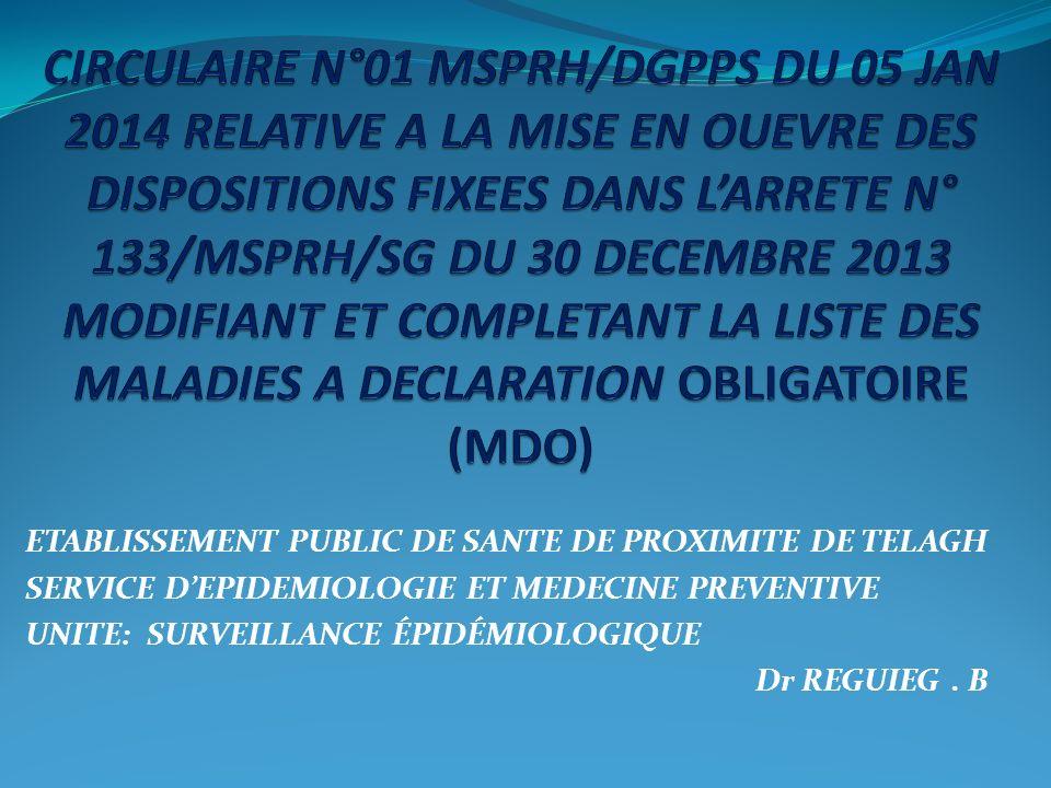 CIRCULAIRE N°01 MSPRH/DGPPS DU 05 JAN 2014 RELATIVE A LA MISE EN OUEVRE DES DISPOSITIONS FIXEES DANS L'ARRETE N° 133/MSPRH/SG DU 30 DECEMBRE 2013 MODIFIANT ET COMPLETANT LA LISTE DES MALADIES A DECLARATION OBLIGATOIRE (MDO)