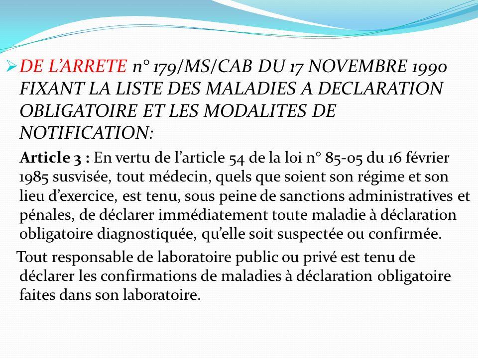 DE L'ARRETE n° 179/MS/CAB DU 17 NOVEMBRE 1990 FIXANT LA LISTE DES MALADIES A DECLARATION OBLIGATOIRE ET LES MODALITES DE NOTIFICATION: