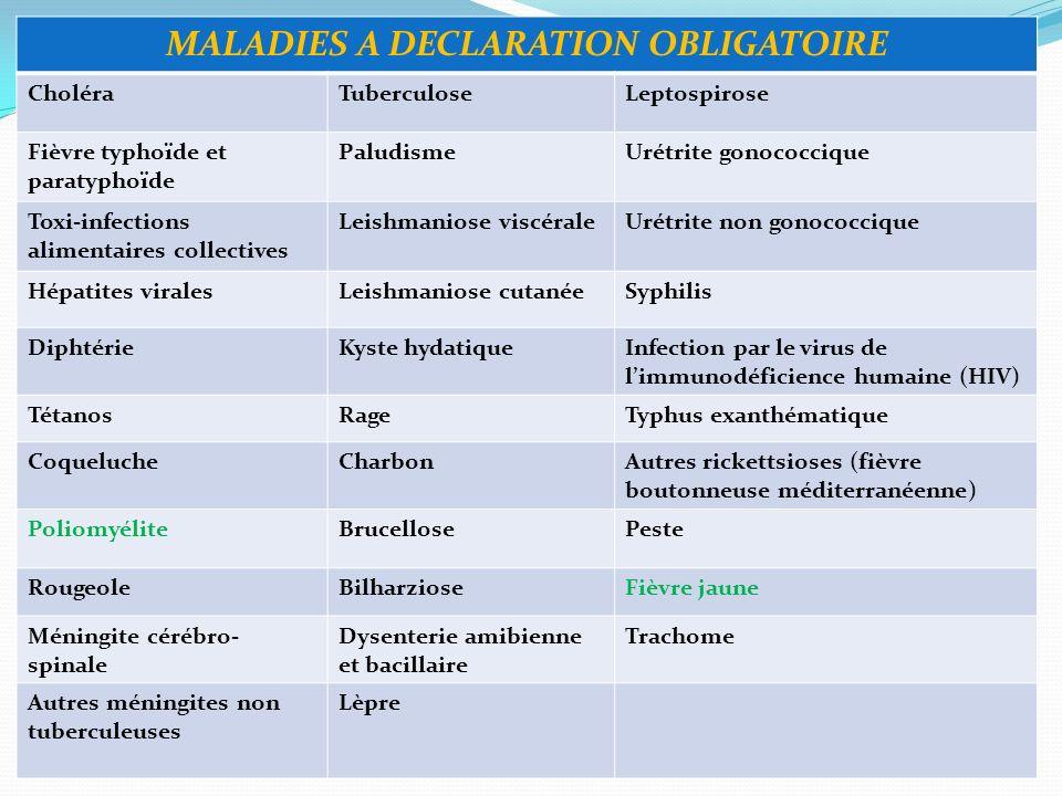 MALADIES A DECLARATION OBLIGATOIRE