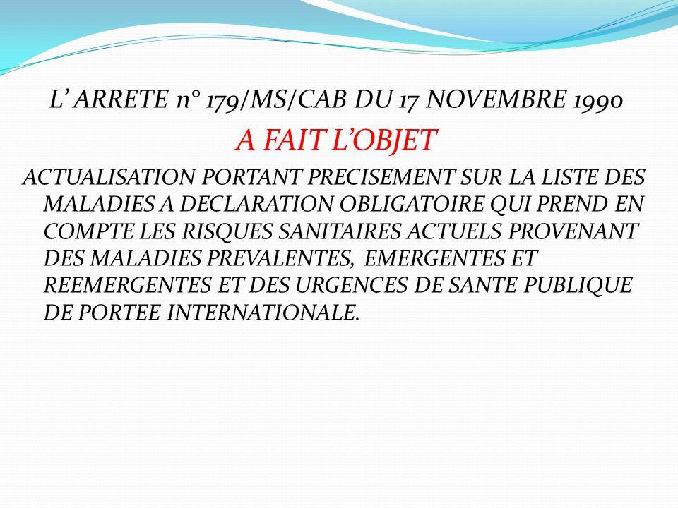 L' ARRETE n° 179/MS/CAB DU 17 NOVEMBRE 1990