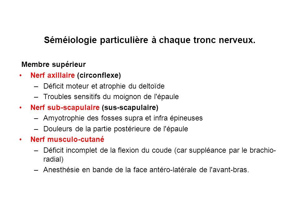 Séméiologie particulière à chaque tronc nerveux.