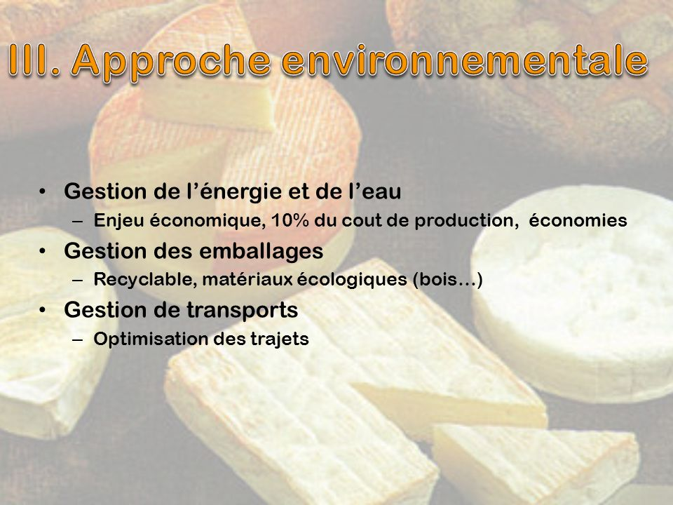 III. Approche environnementale