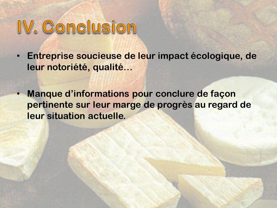IV. Conclusion Entreprise soucieuse de leur impact écologique, de leur notoriété, qualité…
