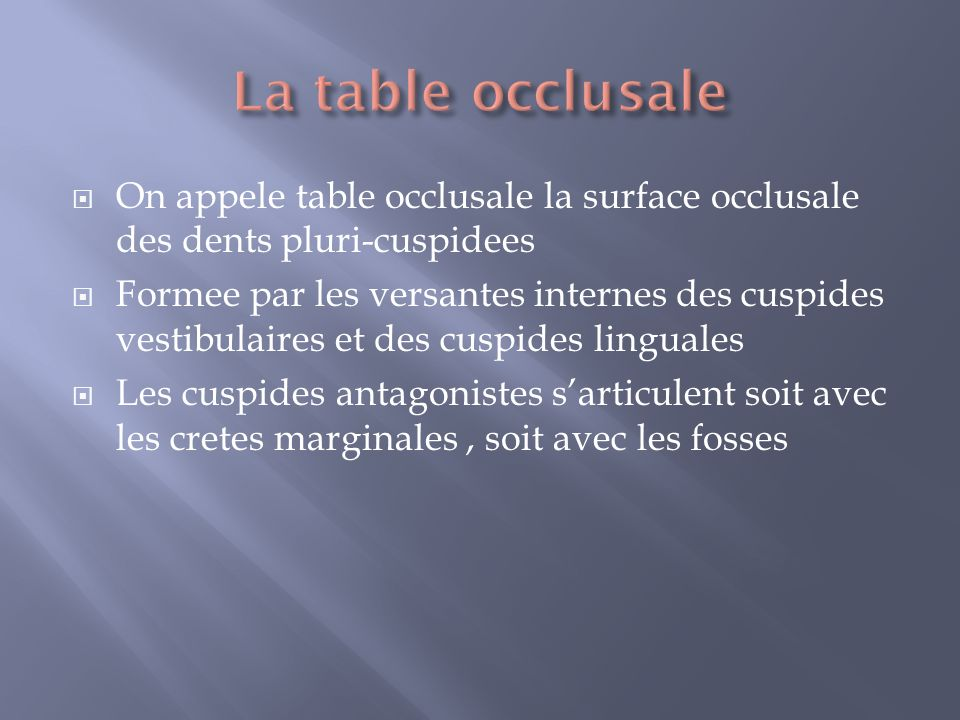 La table occlusale On appele table occlusale la surface occlusale des dents pluri-cuspidees.